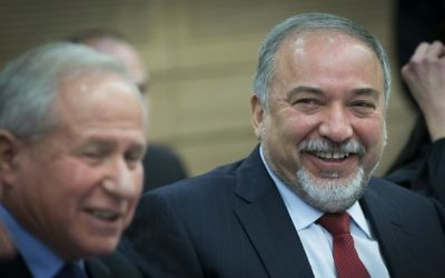 Defense Minister Avigdor Liberman attends a meeting of the Foreign Affairs and Defense Committee in Jerusalem on March 6, 2017 (Yonatan Sindel/Flash90)