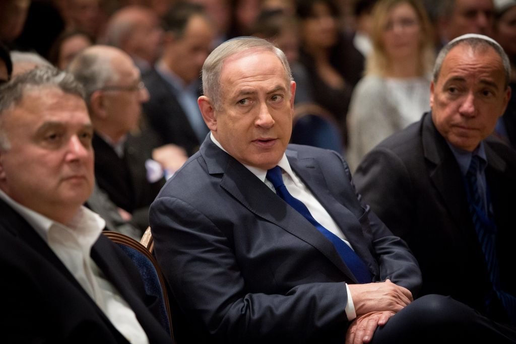 Israeli Prime Minister Benjamin Netanyahu attends a ceremony marking 25 years since the 1992 terror attack on the Israeli Embassy in Buenos Aires at the foreign ministry office in Jerusalem on March 6, 2017. (Yonatan Sindel/Flash90)