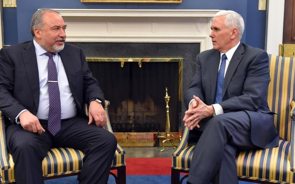 Defense Minister Avigdor Lieberman meets with US Vice President Mike Pence, in Washington DC, on March 7, 2017. (Ariel Hermoni/Defense Ministry)