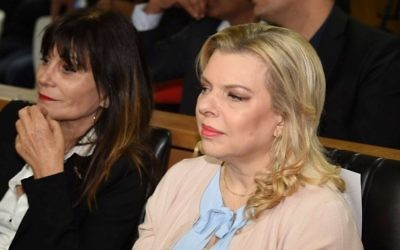 Sara Netanyahu (R), wife of Prime Minister Benjamin Netanyahu, seen at a signing ceremony in the southern Israeli city of Eilat on March 7, 2017. (Yair Sagi/Pool)