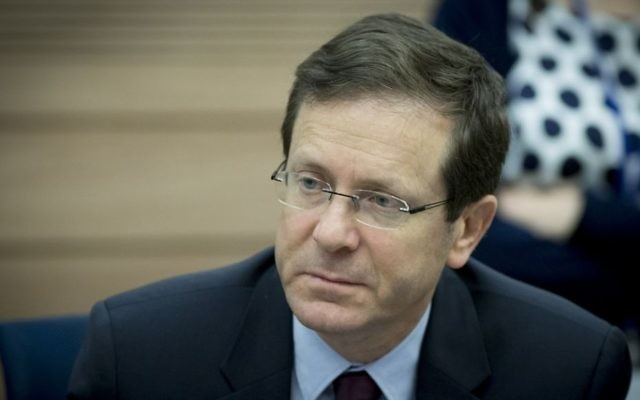 Opposition Leader Isaac Herzog attends the Defense and Foreign Affairs Committee meeting at the Knesset, on March 8, 2017.(Yonatan Sindel/Flash90)