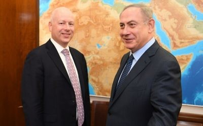 Prime Minister Benjamin Netanyahu (right) meets with Jason Greenblatt, US President Donald Trump's special representative for international negotiations, at the Prime Minister's Office in Jerusalem, March 13, 2017. (Matty Stern/US Embassy Tel Aviv)