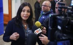 Culture Minister Miri Regev speaks with the media before the weekly cabinet meeting at the Prime Minister's Office in Jerusalem, on March 16, 2017. (Marc Israel Sellem/Pool/Flash90)