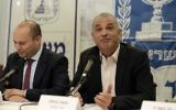 Finance Minister Moshe Kahlon, right, and Israeli Minister of Education Minister Naftali Bennett attend a press conference in Tel Aviv on March 19, 2017. (Tomer Neuberg/Flash90)