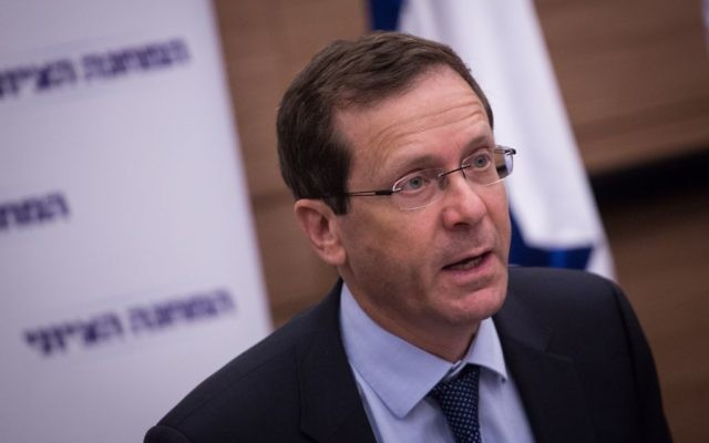 Opposition leader Zionist Union chairman Isaac Herzog at the party faction meeting, March 20, 2017. (Hadas Parush/Flash90)