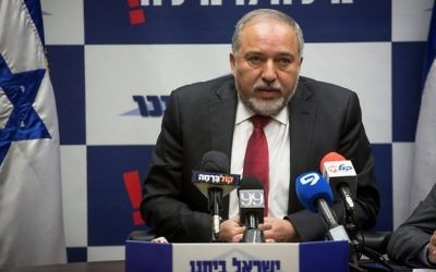 Defense Minister Avigdor Liberman leads a Yisrael Beytenu faction meeting at the Knesset on March 20, 2017. (Hadas Parush/Flash90)