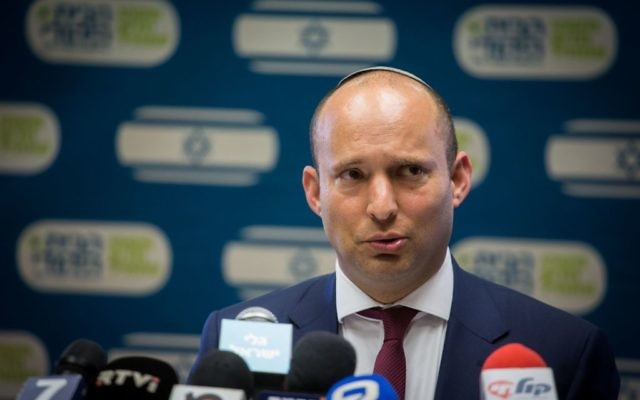 Education Minister and Jewish Home chair Naftali Bennett leads party's weekly faction meeting at the Knesset, March 20, 2017. (Hadas Porush/Flash90)