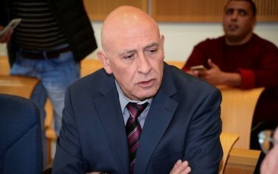 Former Joint (Arab) List MK Basel Ghattas arrives for a court hearing at the Beersheva's Magistrate's Court on March 22, 2017. (Herzl Yosef/Pool)