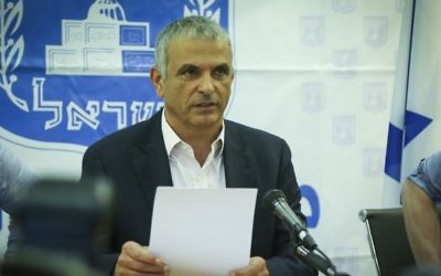 Finance Minister Moshe Kahlon during a press conference at the Finance Ministry in Tel Aviv on March 30, 2017. (Flash90)