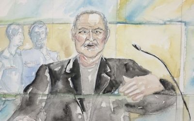 This courtroom sketch shows Venezuelan-born Ilich Ramirez Sanchez known as 'Carlos the Jackal' during his trial at a Paris courthouse, France, dated March 28, 2017. (Eliza Parmentier via AP)