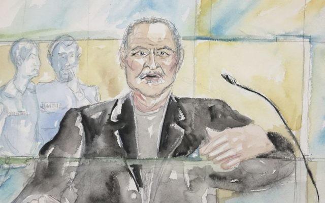 This courtroom sketch shows Venezuelan-born Ilich Ramirez Sanchez known as 'Carlos the Jackal' during his trial at a Paris courthouse, France, dated March 28, 2017. (Eliza Parmentier via AP)