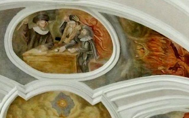 Anti-semitic fresco at The Church of the Most Holy Blood of the Lord Jesus, Poznan, Poland (poznan.wikia.com)