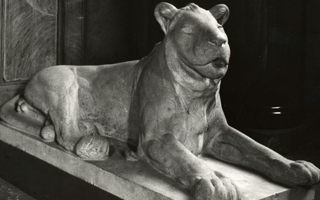 This undated photo provided by Staatliche Museen zu Berlin shows the sculpture 'Lying Lion' by August Gaul, an art piece from the collection of German-Jewish publisher Rudolf Mosse. (Staatliche Museen zu Berlin via AP)