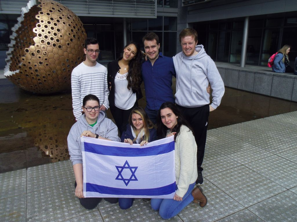 Back row, from left: Haim Tagamlitsky, Sara Epstein, Daniel McDowd and Alan Lyne. Front row, Enya Harrison Louiza Vasiliu and Sonia Tagamlitsky. (Michael Riordan/Times of Israel)