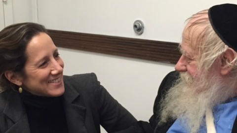 Abigail Pogrebin with Rabbi Adin Steinsaltz (Courtesy)