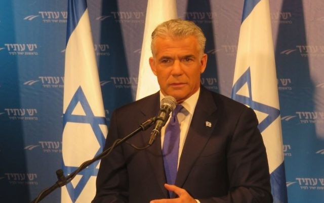 Yesh Atid chairman Yair Lapidat a press conference announcing seven regional council joining the party, March 7, 2017. (Courtesy)