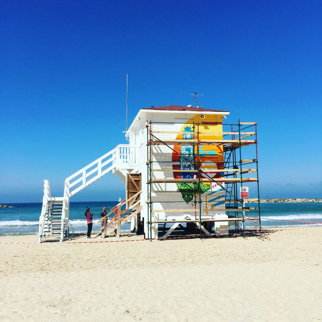 8845bada2cc7 A view of Tel Aviv s pop-up lifeguard tower hotel (under construction) that