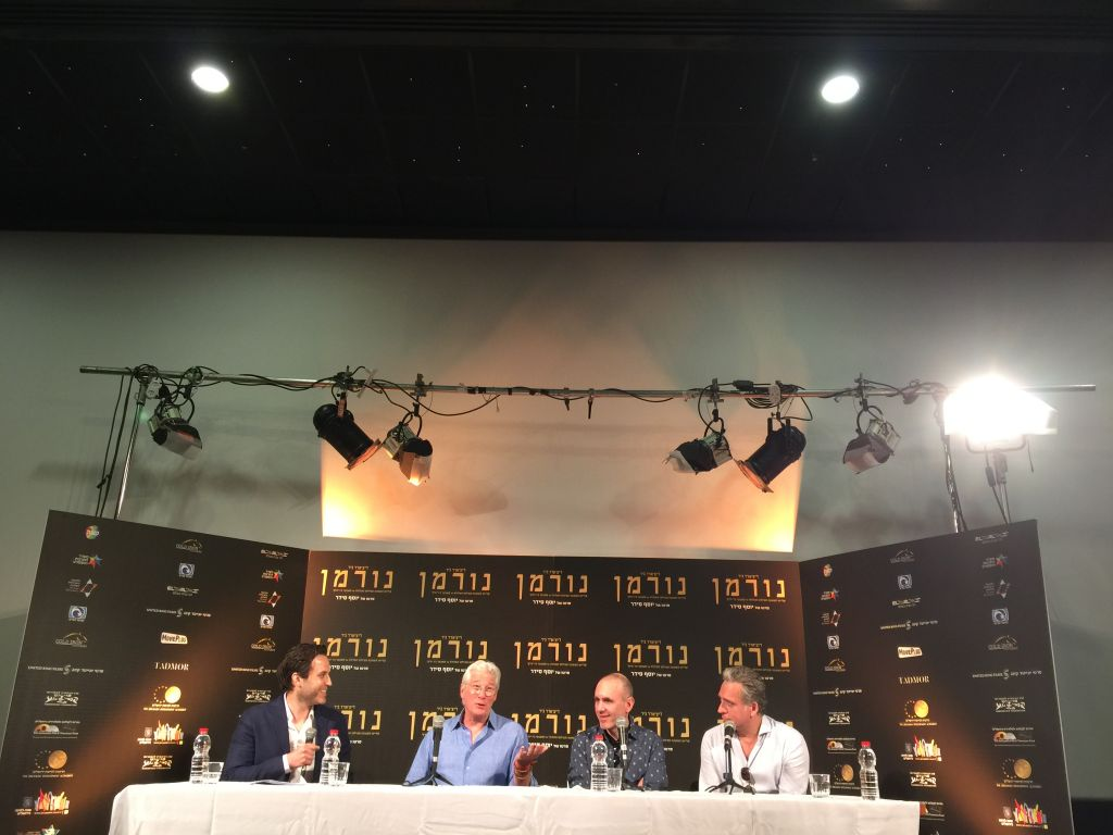 At the Thursday, March 9 conference following the first press screening of Joseph Cedar's new film 'Norman,' with Richard Gere (second from left), Joseph Cedar and Lior Ashkenazy (Jessica Steinberg/Times of Israel)