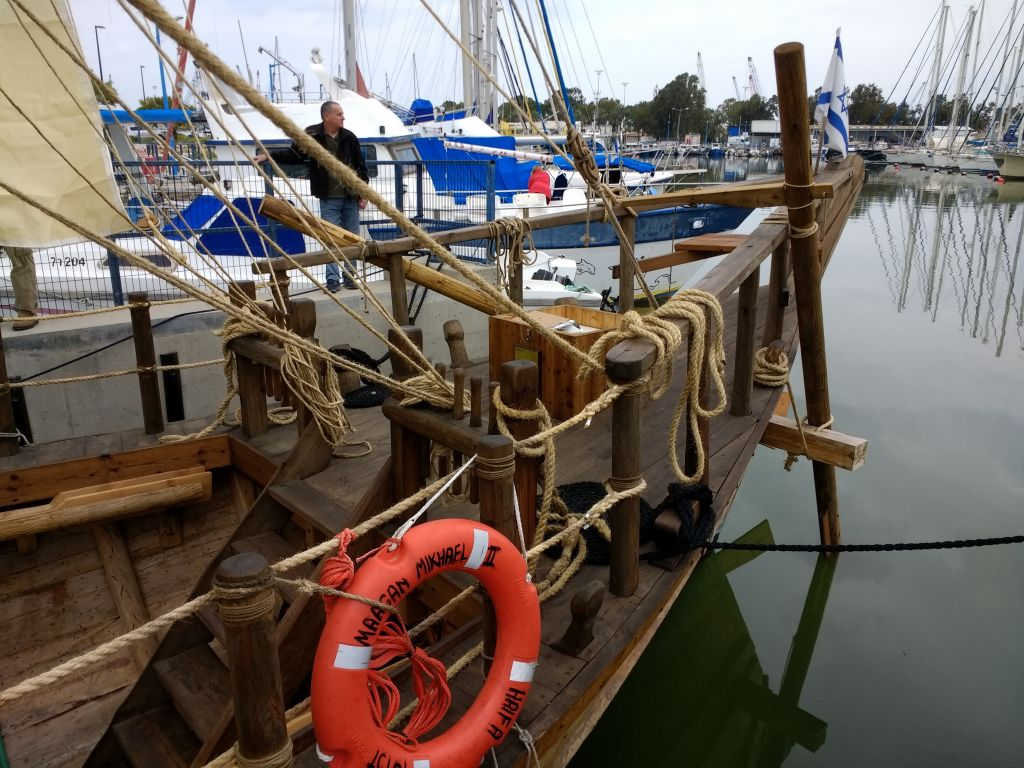 A replica of the 2,500-year-old Ma'agan Michael ship excavated off the coast of Israel in the 1980s at dock in Haifa on March 17, 2017. (Ilan Ben Zion/Times of Israel staff)