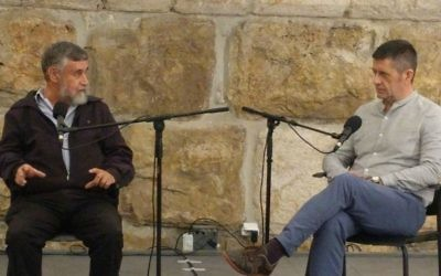 Mishka Ben-David, left, in conversation with Adam LeBor at the Tower of David in Jerusalem's Old City, in the latest event for Times of Israel Presents on March 28, 2017. (Yaakov Schwartz/Times of Israel)