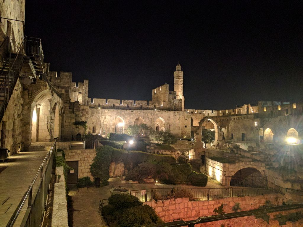The Tower of David at night. (Yaakov Schwartz/Times of Israel)