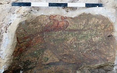 A portion of a Roman-era fresco found during excavations at Omrit, north of the Hula Valley, in June 2016. (Courtesy of Daniel Schowalter)