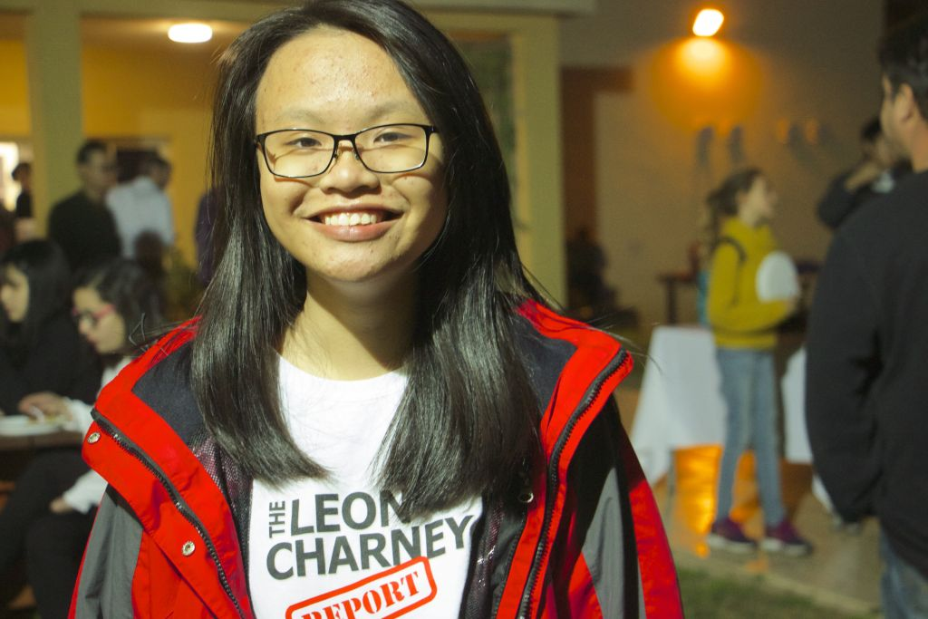 Khanh, 16, from Vietnam, a student from the Eastern Mediterranean International Boarding School (EMIS) in Kfar Hayarok. On March 2, 2017, she participated in mock peace negotiations. (Dov Lieber / Times of Israel)