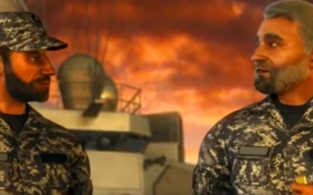 Depiction of Iranian soldiers in a scene from the animated Iranian film 'Battle of the Persian Gulf II' (screen capture: YouTube)