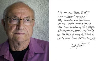 Holocaust survivor Jack Jaget in Harry Borden's book 'Survivor: A Portrait of the Survivors of the Holocaust.' (Harry Borden/via JTA)