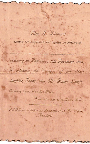 Invitation to wedding of Jacob Lappin and Fanny Diamond in Waterford, Ireland on November 14, 1894 (Courtesy)