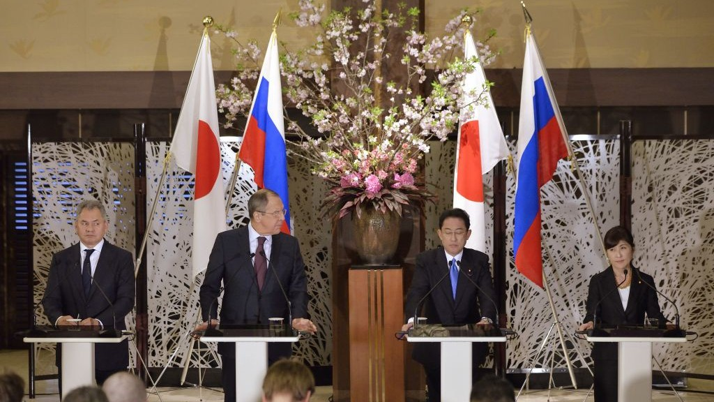 Japan's Foreign Minister Fumio Kishida, second right, and Defense Minister Tomomi Inada, right, attend a joint news conference with Russia's Foreign Minister Sergey Lavrov, second left, and Defense Minister Sergei Shoigu, left, their meeting in Tokyo, Monday, March 20, 2017. (David Mareuil/Pool Photo via AP)