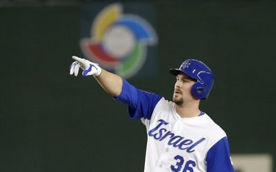 Israel's Ryan Lavarnway reacts at second after hitting a double off Cuba's starter Noelvis Entenza during the fourth inning of their second round game of the World Baseball Classic at Tokyo Dome in Tokyo, Sunday, March 12, 2017. (AP/Shizuo Kambayashi)