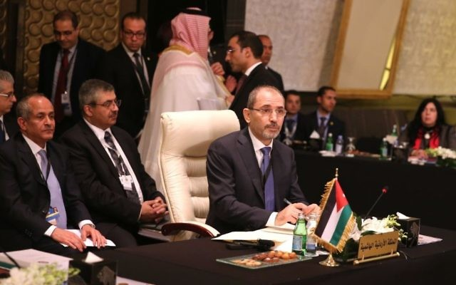Jordanian Foreign Minister Ayman Safadi attends an  Arab Summit meeting at the Dead Sea, Jordan, on March 27, 2017. (AP Photo/Sam McNeil)