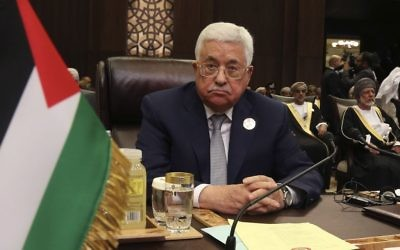 Palestinian President Mahmoud Abbas attends the summit of the Arab League at the Dead Sea, Jordan, Wednesday, March 29, 2017. Arab leaders are gathering for an annual summit where the long-stalled quest for Palestinian statehood is to take center stage. (AP Photo/Raad Adayleh)