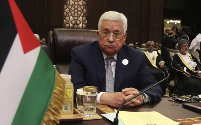 Palestinian President Mahmoud Abbas attends the summit of the Arab League at the Dead Sea, Jordan, Wednesday, March 29, 2017. Arab leaders are gathering for an annual summit where the long-stalled quest for Palestinian statehood is to take center stage. (AP Photo/ Raad Adayleh)