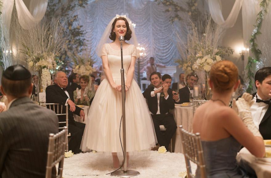 Midge speaking at her wedding. (Amazon Studios)
