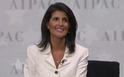 US ambassador to the United Nations Nikki Haley speaks at the 2017 AIPAC Policy Conference at the Verizon Center in Washington, DC on March 27, 2017 (screen capture)