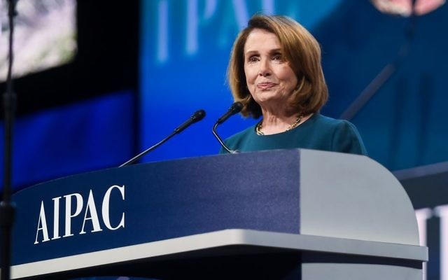 House Minority Leader Nancy Pelosi, a Democrat, addresses AIPAC's 2017 Policy Conference at the Washington Convention Center on March 28, 2017 (courtesy)