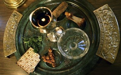 Illustrative: a traditional Passover seder plate is seen at Congregation Beth El in Tyler, Texas, on the first night of Passover. (AP/Dr. Scott M. Lieberman, File)