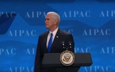 Screen capture from video of US Vice President Mike Pence addressing the annual meeting of the pro-Israel lobby group AIPAC, in Washington, March 26, 2017. (YouTube/Jewish Life Television)