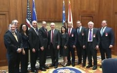 US Attorney General Jeff Sessions (C)  meets with a delegation of Jewish leaders at the US Department of Justice in Washington D.C. on March 30, 2017.  (JCC Association of North America)