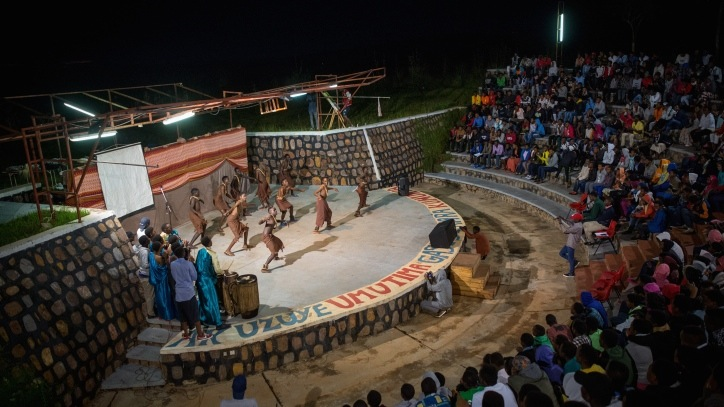 A dance troupe performs at Village Time, the weekly talent show on Friday nights at Agahozo Shalom Youth Village in Rwanda, on February 17, 2017. (Miriam Alster/Flash90)