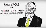 In an animated short video, former chief rabbi Jonathan Sacks says the growing BDS campaign is aimed at eliminating Israel. (YouTube screenshot)