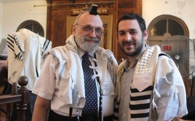 Father-and-son rabbinical team Alvin, left, and Sam Reinstein will receive semicha on the same day, a first for New York's Yeshiva University. (Courtesy of Moshe Bressler)