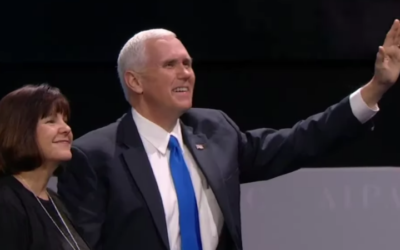 Vice President Mike Pence, with wife Karen, waves to the crowd before addressing the AIPAC policy conference in Washington DC, March 26, 2017 (AIPAC screen capture)