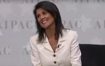 US Ambassador to the UN Nikki Haley reacts to applause at the end of her appearance at the AIPAC policy conference in Washington, DC, March 27, 2017 (AIPAC screenshot)