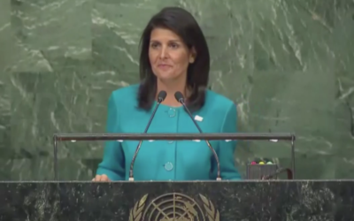 US Ambassador to the UN Nikki Haley speaks at an anti-BDS event at the United Nations assembly hall on March 29, 2017. (Ynet screenshot)