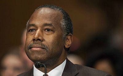 In this Jan. 12, 2017, photo, Housing and Urban Development Secretary-designate Ben Carson testifies on Capitol Hill in Washington.  (AP Photo/Zach Gibson)