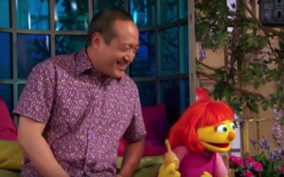 New Sesame Street character Julia. (Screen capture: YouTube)