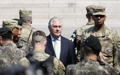 US Secretary of State Rex Tillerson, center, visits with US Gen. Vincent K. Brooks, commander of the United Nations Command, Combined Forces Command and United States Forces Korea, right, at the border village of Panmunjom, which has separated the two Koreas since the Korean War, South Korea, Friday, March 17, 2017. (Lee Jin-man/AP)